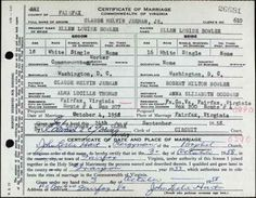 Ellen Louise Bowler Commonwealth of Virginia Marriage Record to Claude Melvin Jerman Jr