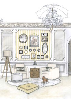 will + kate royal baby proposed nursery | interior drawing + render