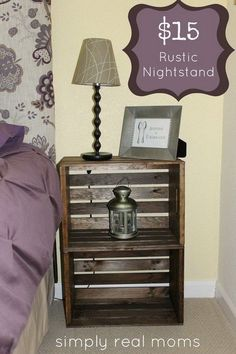 DIY $15 Rustic Nightstand. Gather up two of wooden crates and you can turn them into DIY bedroom furniture. Totally budget-friendly, stylish and add a touch of industrial and rustic charm to your decor!