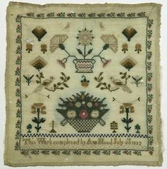 British silk on wool sampler, dated 1832, signed Ann Mead, with depictions of floral bouquets and birds, 13 - Price Estimate: $300 - $500