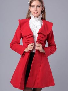 Women's Slim Pure Color Wool Double Breasted Falbala Long Trench Coat