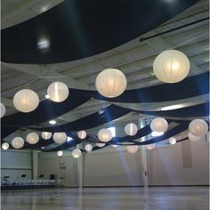 Image detail for -View from corner of the gym. Black fabric with white lanterns. Image detail for -View from corner of the gym. Black fabric with white lanterns. Fabric Ceiling, Ceiling Decor, Ceiling Design, Ceiling Lights, Ceiling Ideas, White Lanterns, Lanterns Decor, Paper Lanterns, Ceiling Draping Wedding