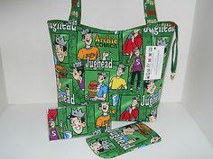 Handbag Tote Purse Archie comics Jughead fabric Handmade Large w/accessories New $37.99 SOLD!