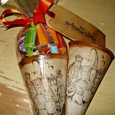 Vintage in Style Stained & Stamped Tableau of Terror Paper Cones with Spooktactular Halloween Hang Tags (16-count)