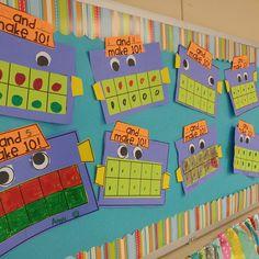 5 and 10 frame activities for kindergarten Preschool Math, Kindergarten Classroom, Kindergarten Activities, Teaching Math, Kindergarten Math Journals, Envision Math Kindergarten, Ten Frame Activities, Number Sense Kindergarten, Number Activities