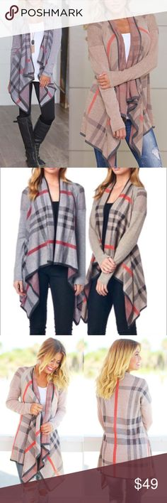 🆕NOLA asym cardigan - TAN/GREY Plaid print, draped neck, open front, asymmetric cardigan. 100% acrylic. 🚨AVAILABLE IN TAN & GREY MIX🚨 NO TRADE, PRICE FIRM Bellanblue Sweaters Cardigans