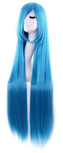 "MapofBeauty 40"" 100cm Anime Costume Long Straight Cosplay Wig Party Wig (Light Blue)"