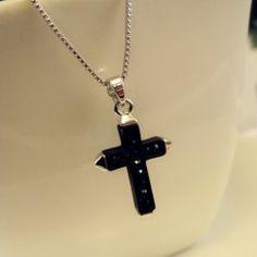 $7.61 Chic Diamante Black Cross Pendant Alloy Necklace For Women