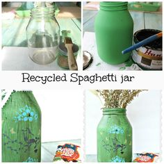 Recycled spaghetti jar gone Spring! Love this idea ... I've been saving spaghetti sauce jars for crafts .. this is perfect! ♥