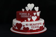 40th Ruby Wedding Anniversary Cake