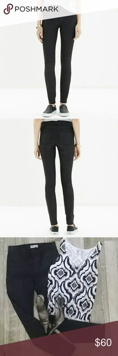 "❤Madewell Skinny Coated Black Twill Leggings NWOT❤ ❤A laid-back pull-on style in sleek coated twill.  Adds instant cool to a chambray shirt or sweater❤ 👉 NEW LISTING Sits at hips. Fitted through the hip & thigh with a slim leg.  Faux pockets in front with 2 real back pockets. ❤I've dressed them up by pairing them with printed sleeveless sweater & crocodile print pumps... throw on your favorite jacket & you've got a complete outfit. NWOT!❤ Size 28 Front rise 10"" Inseam 28.5"" Leg opening 9.5""…"