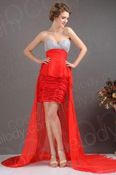 Fashion Sheath Column Sweetheart Asymmetrical Chiffon Red Cocktail Dress COLH13002 $159.00 evening dress, party dress, cocktail dress, prom dress, homecoming dress
