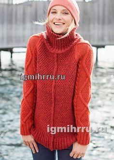 Красный шерстяной свитер со структурными узорами. Вязание спицами