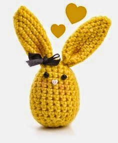 bunny egg yellow color with a black satin ribbon by LilyPuka on Etsy Easter Crafts, Holiday Crafts, Crafts For Kids, Easter Crochet Patterns, Amigurumi Patterns, Crochet Chicken, Easter Colors, Fathers Day Crafts, Hoppy Easter