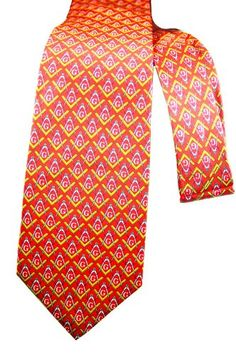 Linen Slim necktie - White polka dots on light orange plain weave - Notch OJIN Notch BT7UofD