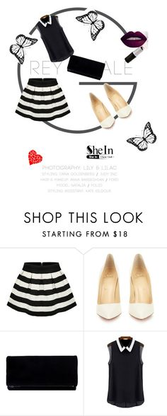 """""""Stripe Flare Zip Skirt"""" by almma-karic ❤ liked on Polyvore featuring Christian Louboutin, women's clothing, women, female, woman, misses, juniors and shein"""