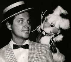 Uncle Al with Bobby Bunny. april 1960.   Cincinnati, Ohio. Kids TV Shows.