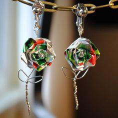 Mountain dew rose earrings