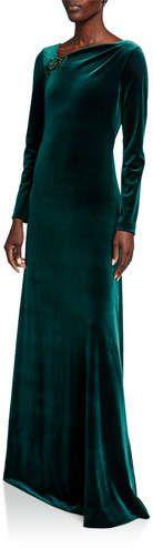 Rickie Freeman For Teri Jon Asymmetric Neck Long-Sleeve Velvet Gown Long Sleeve Velvet Gown, Neiman Marcus, Polyester Spandex, Luxury Fashion, Feminine, Neckline, Glamour, Gowns, Wedding Dresses