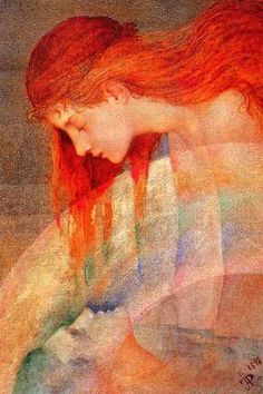 Pre Raphaelite Art ~ Phoebe Anna Traquair - Love's Testament 1898 oil on canvas (The Photochopped version all over the web of the woman as an orange hued redhead) Illustrations, Illustration Art, St Brigid, Capricorn Moon, Elfa, Pre Raphaelite, Arts And Crafts Movement, Gods And Goddesses, Art Nouveau
