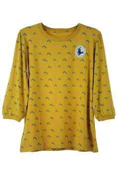 Scoop Neck Print Dark Yellow T-shirt. Description This dark yellow T-shirt featuring scoop neck,seven sleeves with elastic cuffs,some small black pattern print on whole body.  Fabric  Terelene and Cotton.  Washing  40 degree machine wash, do not bleach, do not tumble dry, cool iron on reverse, do not dry clean. #Romwe