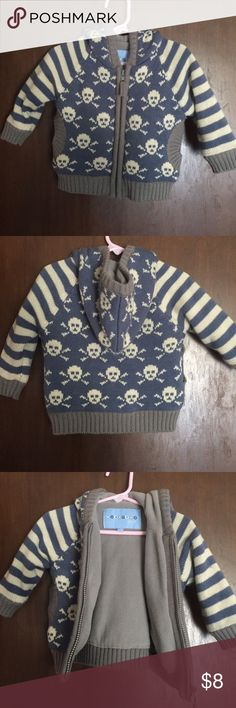 Wippette Kids Fleece Sweater Jacket Cardigan EUC Wippette Kids Fleece Sweater Jacket Cardigan. Size 12m months, zip up, colonial blue and cream sweater with skulls and crossbones, inside is grey fleece lined throughout, EUC excellent used condition Wippette Kids Shirts & Tops Sweaters