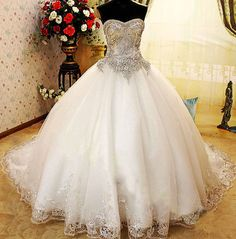White and Gold Wedding. Sweetheart Corset Ballgown Dress. Wedding