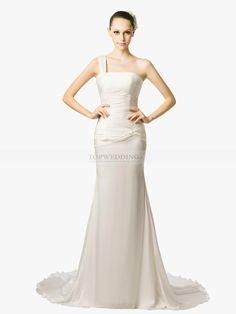 Romeine - robe de mariée sirène une épaule en mousseline de soie
