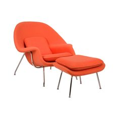 Inspired by mid-century modern design, this hybrid lounge–reception chair is a great addition to any living room or bedroom. Comfortable, classy, modern, and in bold and bright colors, the Nest Chair a...  Find the Nest Lounge and Ottoman Set, as seen in the Forms of Neo-futurism Collection at http://dotandbo.com/collections/forms-of-neo-futurism?utm_source=pinterest&utm_medium=organic&db_sku=DBI8012-ORG