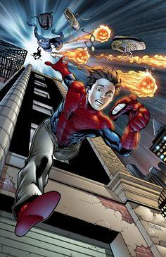 Spider-Man running from the green Goblin Spiderman Suits, Spiderman Art, Amazing Spiderman, Parker Spiderman, Marvel Art, Marvel Heroes, Marvel Universe, Spectacular Spider Man, Man Vs