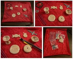 This is  a mini altar kit for Wiccans on the go. Its perfect for travling. It is made with polymer clay  that is baked and glazed.  This set includes: 1 mini chalice 1 mini bowl 1 mini offering plate 1 goddess charm 1 horned god charm 1 incense holder with pentacle etched in it 1 athame charm 3 jasmine incense sticks 1 pentacle charm prayer beads 1 red crushed velvet bag/altar cloth  Coming soon to my shop!  http://www.etsy.com/shop/TheWitchesApprentice