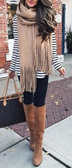 #Winter #Outfits / Striped Sweater + Oversized Scarf