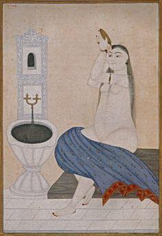 Miniature showing a woman bather by Abdullah Buhari, 1741–42, paper, paint, gold leaf, Topkapı Palace Museum