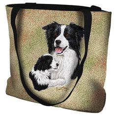 Border Collie Dog and Puppy Portrait Tote Bag