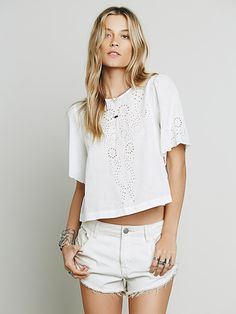 Free People Cutwork Indigo Top at Free People Clothing Boutique
