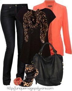 Coral jacket and leopard print heels Glamouröse Outfits, Casual Outfits, Fashion Outfits, Fashion Trends, Fashion Bags, Spring Outfits, Fashion Inspiration, Womens Fashion, Leopard Print Outfits