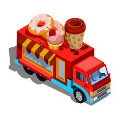 Cafe car. Drawn for Vectorpocket. #instagood  #instaart #infographic  #food  #fastfood  #restaurant  #donuts  #goodies  #graphicdesign #graphics #isometric  #drawing #digitalart #design #illustration #illustrator #vectorartist #vectordesign #vectorart #vector #icon #picture #pic #image #creative #cafe #car