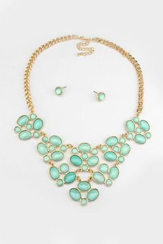 May Necklace in Mint Shimmer