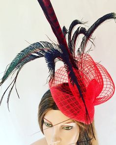 Excited to share this item from my shop: Red peacock fascinator red black floral fascinator unique headpieces red flower fascinator headpiece unique headpiece,fascinator Red Fascinator, Floral Fascinators, Flapper Headpiece, Green Silk, Flower Shape, Vintage Green, Silk Fabric, Vintage Brooches, Red Flowers