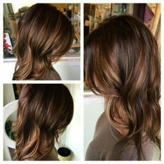 Medium brown hair with chestnut lowlights and caramel highlights, soft waves