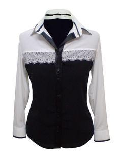 Camisa feminina musseline manga longa preto e branco com renda (1256)