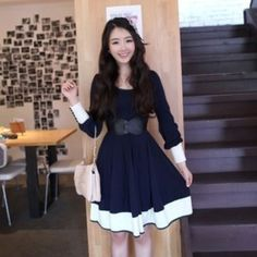 Cute Girls Campus Style Long Sleeve Sweet Casual Mini Dress with Belt