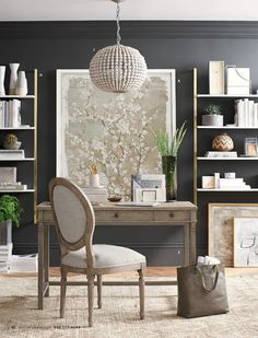 Design a perfect home office with stylish and functional office furniture. Find desk chairs and home office chairs online and at your local Pottery Barn. Home Office Space, Home Office Design, Home Office Decor, House Design, Office Designs, Bureau Design, Driven By Decor, Acrylic Furniture, Wall Mounted Shelves