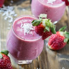 Strawberry Coconut Smoothie Recipe Beverages with bananas, frozen strawberries, unsweetened coconut milk, unsweetened shredded dried coconut, vanilla extract
