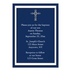 Simple and stylish religious invitation in navy blue with white border and white cross. Suitable for baptisms, christenings, communions or confirmations. Invitations are easy to customize and come complete with envelopes and your choice of paper. #religious #christening #baptism #navy #blue #cross #holy #communion #confirmation #crucifix #christian #ceremony #sacrament #stylish #simple #baptisms