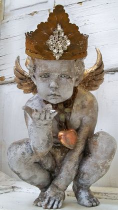 Detailed Cherub Statue Adorned With Handmade Crown Jewelry French Inspired  Ooak Home Decor Anita Spero Design