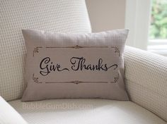 Zulily featured 'Give Thanks' #Thanksgiving #Décor #Pillow Cover by BubbleGumDish.com, $40.00