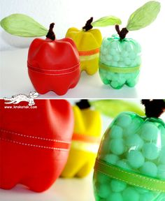 recycled bottle apple craft: The instructions to this awesome little apple craft… Reuse Plastic Bottles, Plastic Bottle Crafts, Recycled Bottles, Diy For Kids, Crafts For Kids, Fall Crafts, Diy Crafts, Fruit Crafts, Apple Theme