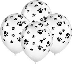 12 adorable paw print balloons Black and White.  These are superior Helium quality Latex.  Size: 11 inch ( when fully inflated)  Your balloons