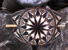 Large geometric hand carved leather hair barrette - tooled leather jewelry - Stick Barrette - Hair Slide - Haarspange aus Leder - List of the best jewelry Leather Tooling, Tooled Leather, Leather Bags, Etsy Handmade, Handmade Items, Handmade Books, Handmade Gifts, Hair Slide, Hair Barrettes